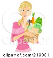 Royalty Free RF Clipart Illustration Of A Pretty Blond Woman Carrying A Grocery Bag by BNP Design Studio