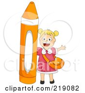 Royalty Free RF Clipart Illustration Of A Blond School Girl By An Orange Crayon