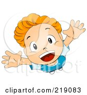 Royalty Free RF Clipart Illustration Of A View Down On A Boy Jumping And Looking Up