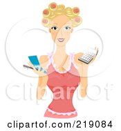 Royalty Free RF Clipart Illustration Of A Pretty Blond Woman With Her Hair In Curlers Holding A Notepad And Calculator