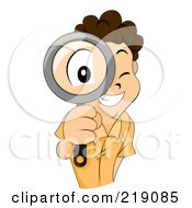 Royalty Free RF Clipart Illustration Of A Brunette Boy Looking Through A Magnifying Glass