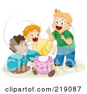 Royalty Free RF Clipart Illustration Of A Group Of Diverse School Children Telling Stories