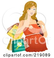 Royalty Free RF Clipart Illustration Of A Pregnant Dirty Blond Woman In A Shopping In An Orange Dress