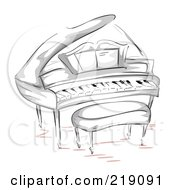 Royalty Free RF Clipart Illustration Of A Sketch Of A Grand Piano And Bench by BNP Design Studio
