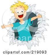 Royalty Free RF Clipart Illustration Of A Blond Boy Bursting Through Paper