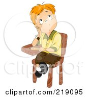 Royalty Free RF Clipart Illustration Of A Red Haired School Boy Sitting In His Desk And Thinking