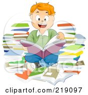 Royalty Free RF Clipart Illustration Of A Red Haired School Boy Reading And Surrounded By Books