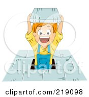 Royalty Free RF Clipart Illustration Of A Red Haired School Boy Popping Out From A Floor