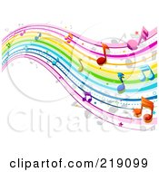 Royalty Free RF Clipart Illustration Of A Background Of Rainbow Music Waves by BNP Design Studio