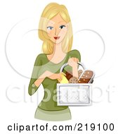 Royalty Free RF Clipart Illustration Of A Pretty Blond Woman Carrying A Basket Of Bread by BNP Design Studio