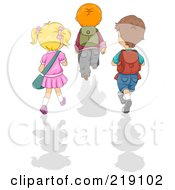Royalty Free RF Clipart Illustration Of Three School Children Walking Away With Shadows