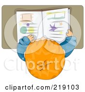 Royalty Free RF Clipart Illustration Of A View Down On A Red Haired School Boy Reading