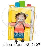 Royalty Free RF Clipart Illustration Of A Black School Boy Standing In Front Of A Yellow Book