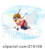 Happy Boy Flying Above The Clouds On A Paper Plane