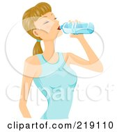 Royalty Free RF Clipart Illustration Of A Dirty Blond Woman Drinking From A Water Bottle