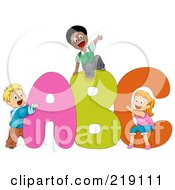 Royalty Free RF Clipart Illustration Of Diverse School Kids Playing On ABC