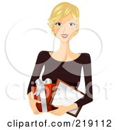 Royalty Free RF Clipart Illustration Of A Pretty Blond Woman Carrying A Gift Box And Certificate