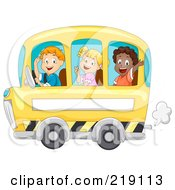 Three Happy Children Waving And Riding A School Bus