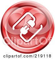 Royalty Free RF Clipart Illustration Of A Round Red And White Cable Connection App Icon