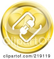 Royalty Free RF Clipart Illustration Of A Round Yellow And White Cable Connection App Icon