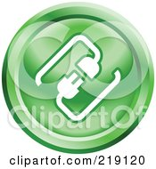 Royalty Free RF Clipart Illustration Of A Round Green And White Cable Connection App Icon