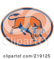 Royalty Free RF Clipart Illustration Of A Blue And Orange Angry Bull Logo