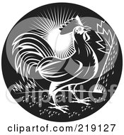 Royalty Free RF Clipart Illustration Of A Black And White Rooster Logo