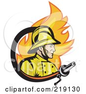 Royalty Free RF Clipart Illustration Of A Retro Fireman Fire And Hose Logo by patrimonio