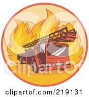 Royalty Free RF Clipart Illustration Of A Retro Fire Truck And Flames Logo by patrimonio