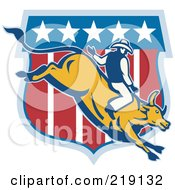 Royalty Free RF Clipart Illustration Of A Retro Rodeo Cowboy Riding A Bull Logo 2