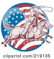 Royalty Free RF Clipart Illustration Of A Retro American Cowboy Swinging A Lasso Logo
