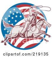 Royalty Free RF Clipart Illustration Of A Retro American Cowboy Swinging A Lasso Logo