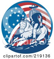 Royalty Free RF Clipart Illustration Of A Retro American Cowboy And Horse Logo