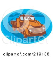 Royalty Free RF Clipart Illustration Of A Retro Orange And Blue Vintage Pickup Truck Logo by patrimonio