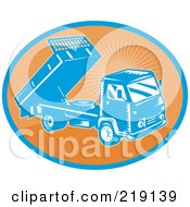 Royalty Free RF Clipart Illustration Of A Retro Orange And Blue Dump Truck Logo