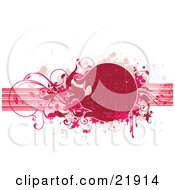 Clipart Picture Illustration Of A Red Circular Text Space With Pink Paint Splatters And Vines Over Horizontal Bands On A White Background