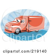 Royalty Free RF Clipart Illustration Of A Retro Red And Blue Delivery Van Logo by patrimonio