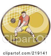 Royalty Free RF Clipart Illustration Of A Retro Male Volleyball Player Logo by patrimonio