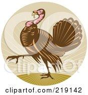 Royalty Free RF Clipart Illustration Of A Walking Turkey Logo
