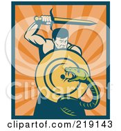 Royalty Free RF Clipart Illustration Of A Retro Warrior Slaying A Snake With A Sword