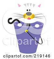 Royalty Free RF Clipart Illustration Of A Cute White Cat With Orange Cheeks Looking Over A Purple Bucket by Venki Art