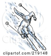 Royalty Free RF Clipart Illustration Of A Sketched Blue Skier