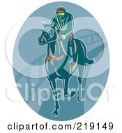 Royalty Free RF Clipart Illustration Of A Retro Jockey Logo