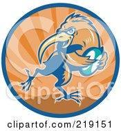 Royalty Free RF Clipart Illustration Of A Retro Rugby Kiwi Bird Logo 2 by patrimonio