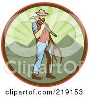 Royalty Free RF Clipart Illustration Of A Retro Miner Man Logo 1 by patrimonio