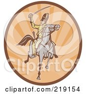 Royalty Free RF Clipart Illustration Of A Retro Tan And Orange Cavalry Logo