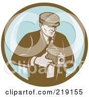 Royalty Free RF Clipart Illustration Of A Retro Brown And Blue Photographer Logo by patrimonio