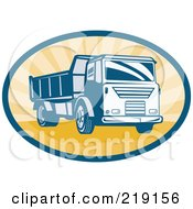 Royalty Free RF Clipart Illustration Of A Retro Blue And Orange Dump Truck Logo
