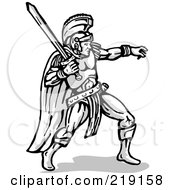 Sketched Gladiator Leaning Back And Holding Up A Sword