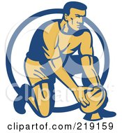Royalty Free RF Clipart Illustration Of A Retro Rugby Football Player Logo 2